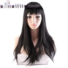 """S-noilite 24"""" Long Black Hair Wigs For Women Synthetic Wigs For Black Women Heat Resistant False Hair Pieces Hairstyles"""