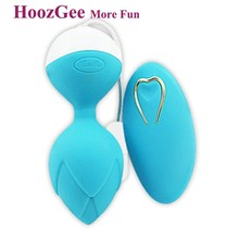 HoozGee Wireless Remote Control 10 Speed Vibration Sex Love Ball Kegel Exercise Smart Ball for Woman Vaginal Training (blue)(China)
