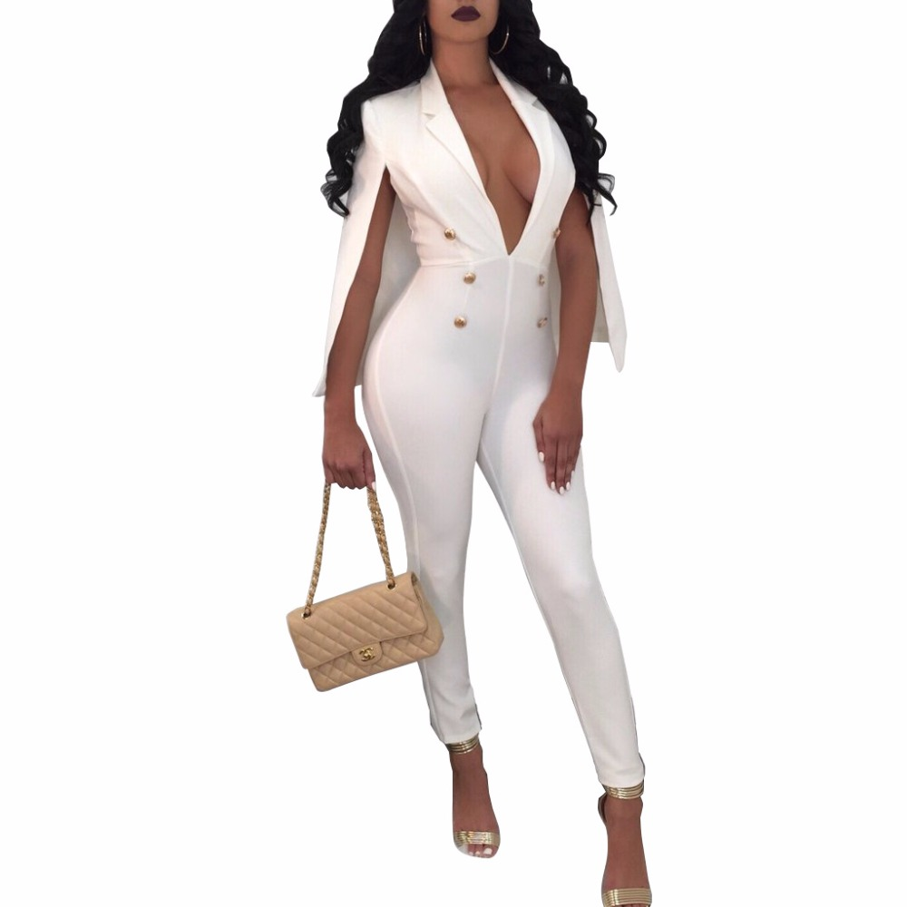 Adogirl 2018 Fashion Cape Jumpsuits for Women Sexy Deep V Sleeveless Business Jumpsuits Stretch Slim Rompers Plus Size Jumpsuits