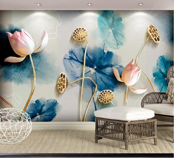 New 8D Large Mural Painting Lotus Flower Chinese Wallpaper Mural 3D Photo Wall Mural Wall paper for Living Room 3d Wallcovering custom 3d stereoscopic large mural wallpaper wall paper living room tv backdrop of chinese landscape painting style classic