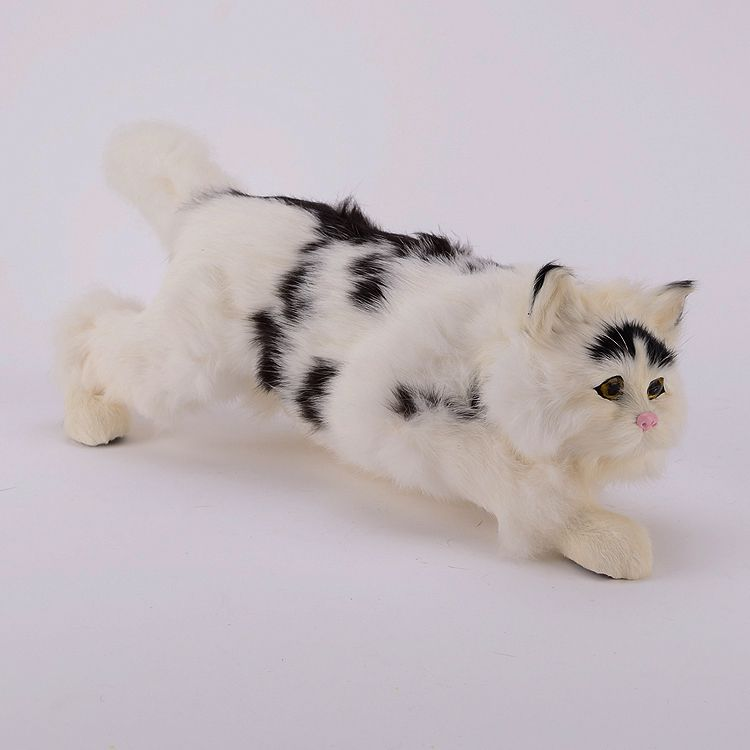 lovely big simulation creeping cat plastic&fur black&white cat model toy gift 42x14x13cm a71 large 24x24 cm simulation white cat model lifelike big head squatting cat model home decoration gift t186