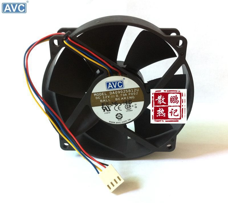 Original AVC DA09025B12U 9CM round frame supports CPU fan double ball bearing PWM 4 wire speed free delivery 9025 9 cm 12 v 0 7 a computer cpu fan da09025t12u chassis big wind pwm four needle
