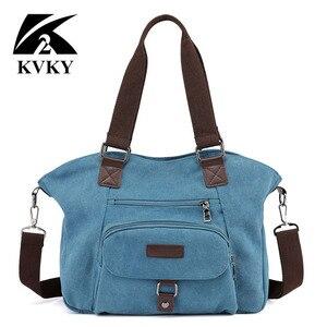 Image 2 - KVKY marka kadın keten çantalar çanta rahat kanvas omuz çantaları Vintage çapraz postacı çantası kadın bez çantalar trapez