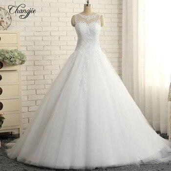 Vestidos de novia recién llegados vestido de novia 2018 cuello redondo sin mangas capilla tren apliques tul Vestidos de novia