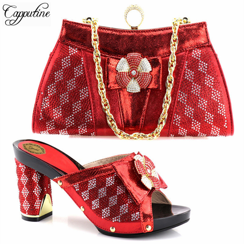 Capputine 2018 New Design European Rhinestone Shoes And Bags Set Italian Fashion Woman High Heels Shoes And Bag Set For Wedding capputine new arrival fashion shoes and bag set high quality italian style woman high heels shoes and bags set for wedding party