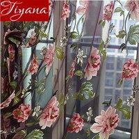 ستارة الأزهار نضوب ستارة الفوال نافذة غرفة المعيشة الحديثة غرفة نوم تول الستار المطبخ شير النسيج Cortinas T & 223 #30