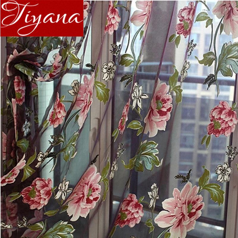 Floral Curtain Burnout Voile Curtain Window Modern Living Room Bedroom Tulle Curtain Kitchen Sheer Fabric Cortinas T&223 #30