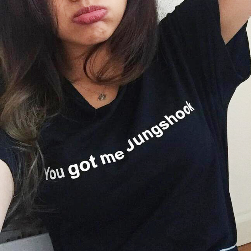 New 2018 Fashion Girl You Got Me Jungshook Casual Short Sleeve Tee Top Summer Simple Harajuku Tumblr Bts T Shirt Plus Size Tops