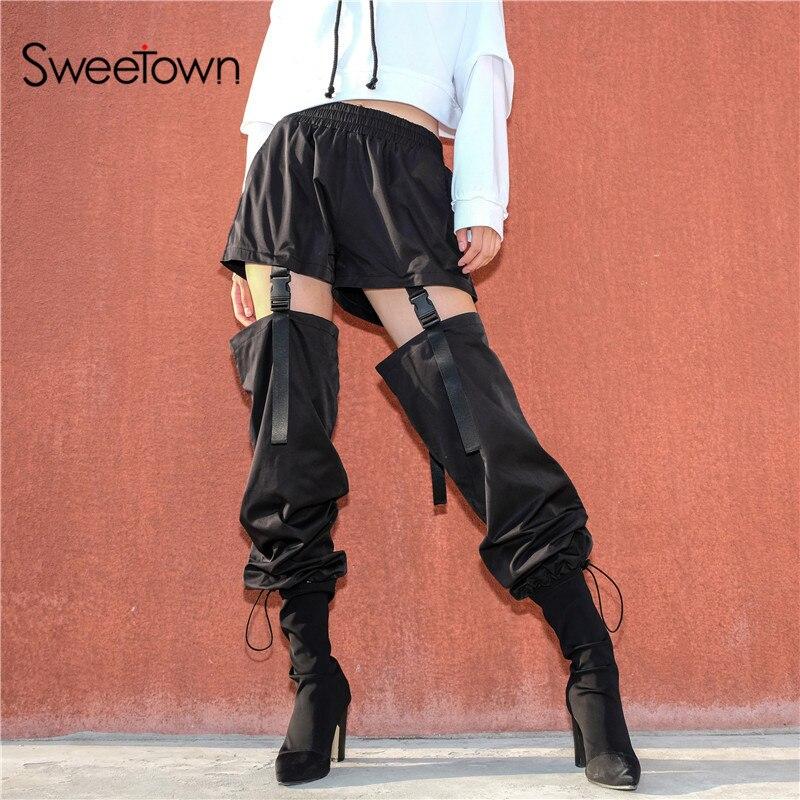 Sweetown Plus Size Gothic Cargo Pants Women Black Casual Loose Detachable High Waist Trousers With Plastic Buckle Hip Hop Pants