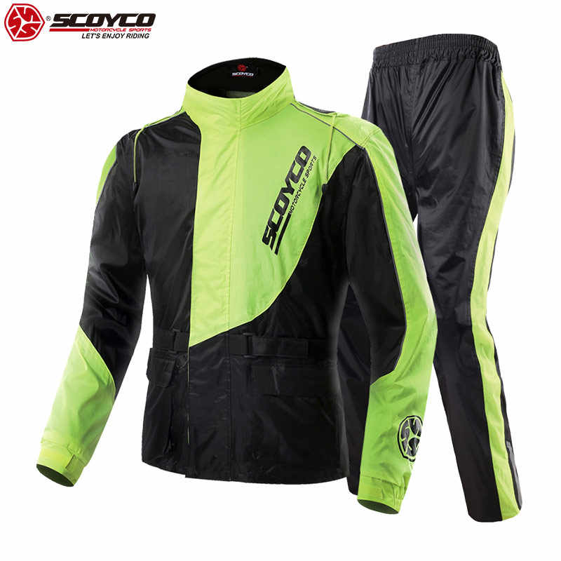SCOYCO Moto Rider impermeable reflectante ajustable Motocross impermeable trajes de carrera equipo protector Moto impermeable RC01
