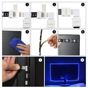 Image 5 - USB الطاقة إضاءة خلفية للتلفاز RGB LED أضواء مرنة 1M 2M 3M LED قطاع الطيرة مع 90 درجة موصل 24 مفاتيح عن بعد للكمبيوتر التحيز ضوء