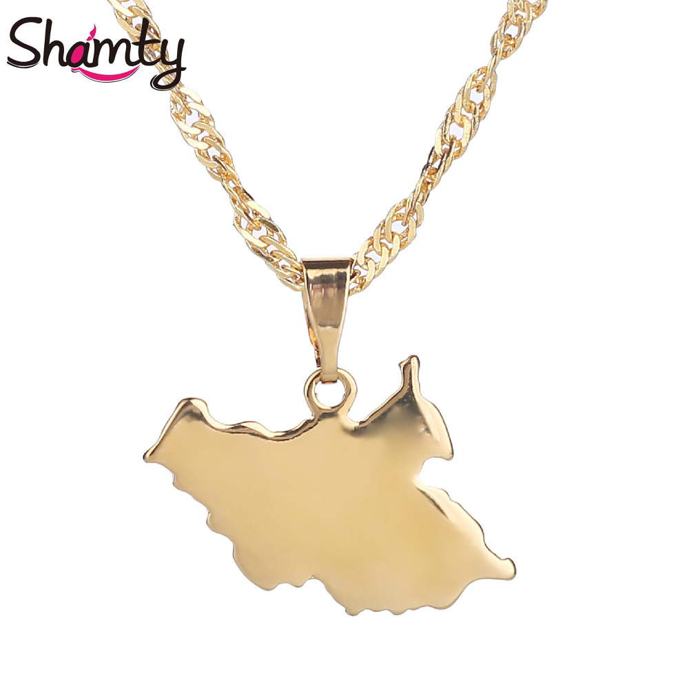 Shamty Gold Color South Sudan Map African Jewelry Jewelry For Women Men Fashion Necklace Pendant Fashion Brand Jewelry