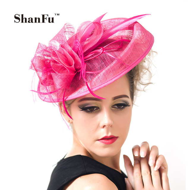 Shanfu Las Large Feather Fascinators Sinamay Hats Vintage Women Hair Accessories With Headband For Wedding Party