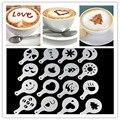 Coffee Decor Kitchen Tool 16Pcs/set Fashion Cappuccino Coffee Barista Stencils Template Strew Pad Duster Spray Tools