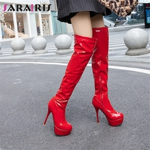 купить SARAIRIS 2019 New Dropship Plus Size 32-46 Add Fur Platform Shoes Woman Boots Female Thin High Heels Zip Up Over The Knee Boots дешево