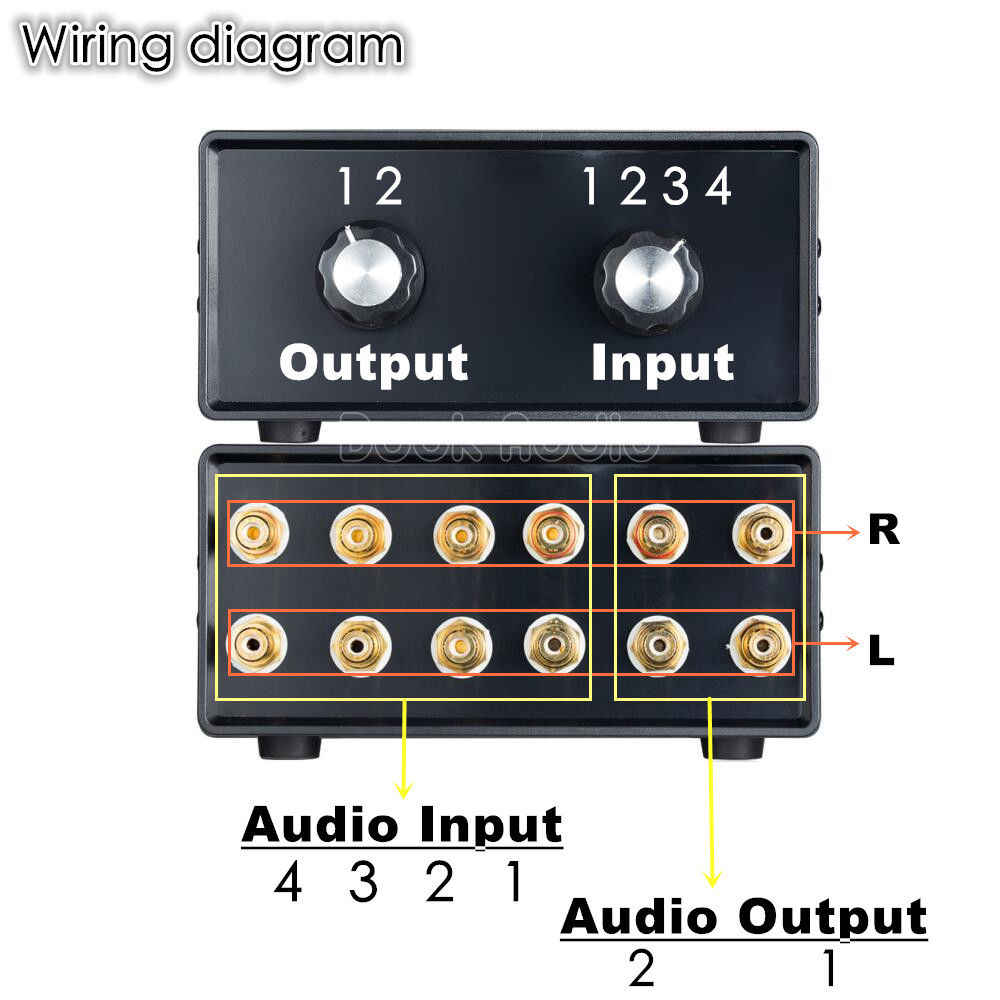 2018 nobsound mini hifi stereo 4-in-2-out rca audio signal splitter