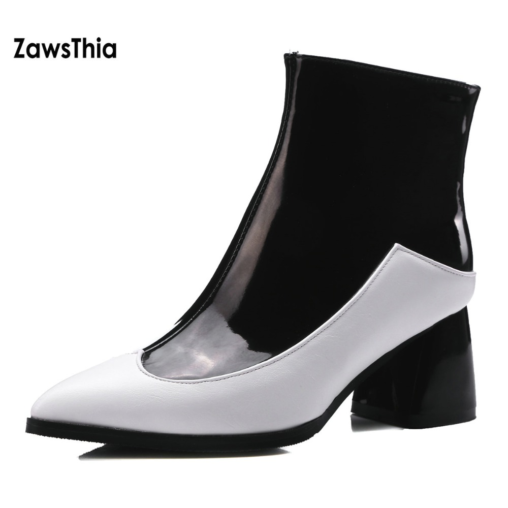 ZawsThia PU pointed toe high heels shoes woman winter white black red chelsea ankle boots for women big size 44 45 zapatos mujer 2017 solid black winter spring women shoes slip on pointed toe spike high heels ankle boots women free ship size 9 12