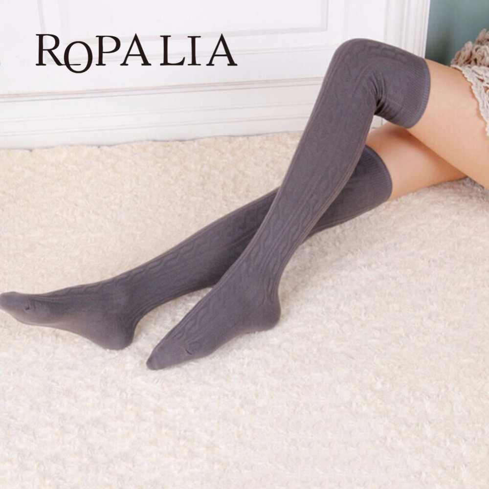 94d9cfa710e ROPALIA 2018 Woman Lady  s Wool Braid Over Knee Socks Thigh Highs Hose  Stockings