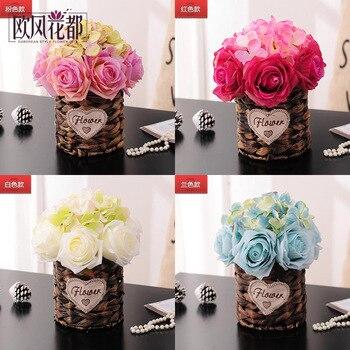 fresh garden decorative flower vase vine European simulation desktop small potted flowers rattan furnishings decoration