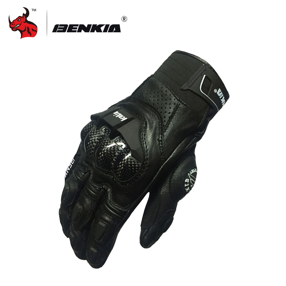 BENKIA Motorcycle Gloves Black Leather Motocross Gloves Full Finger Touch Screen Moto Racing Motorbike Guantes Luvas screen touch motorcycle gloves motorbike moto luvas motociclismo para guantes motocross 01c motociclista women men racing gloves