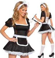 Free Shipping Adult Midnight Cap Sleeves French Maid Costume 3S1054 Sexy Women Exotic Servant Cosplay Dress