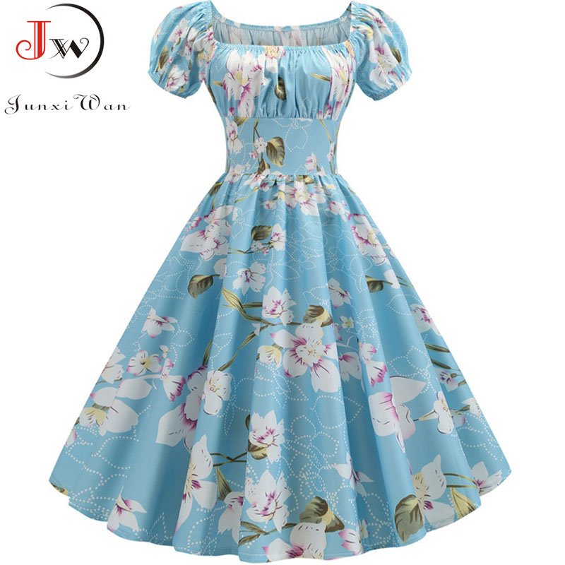 Women Vintage Floral Printed Summer Dress Puff Sleeve Elegant A-line Midi Party Dress Robe 2019 Chic Rockabilly Pinup Vestidos