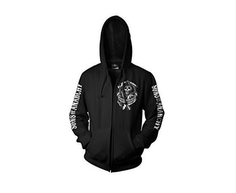 Hot Sale 2018 Autumn Winter Thick Sweatshirts Movie Sons of Anarchy  Zipper Hoodie Mens Warm Coat Jacket Cosplay Costume