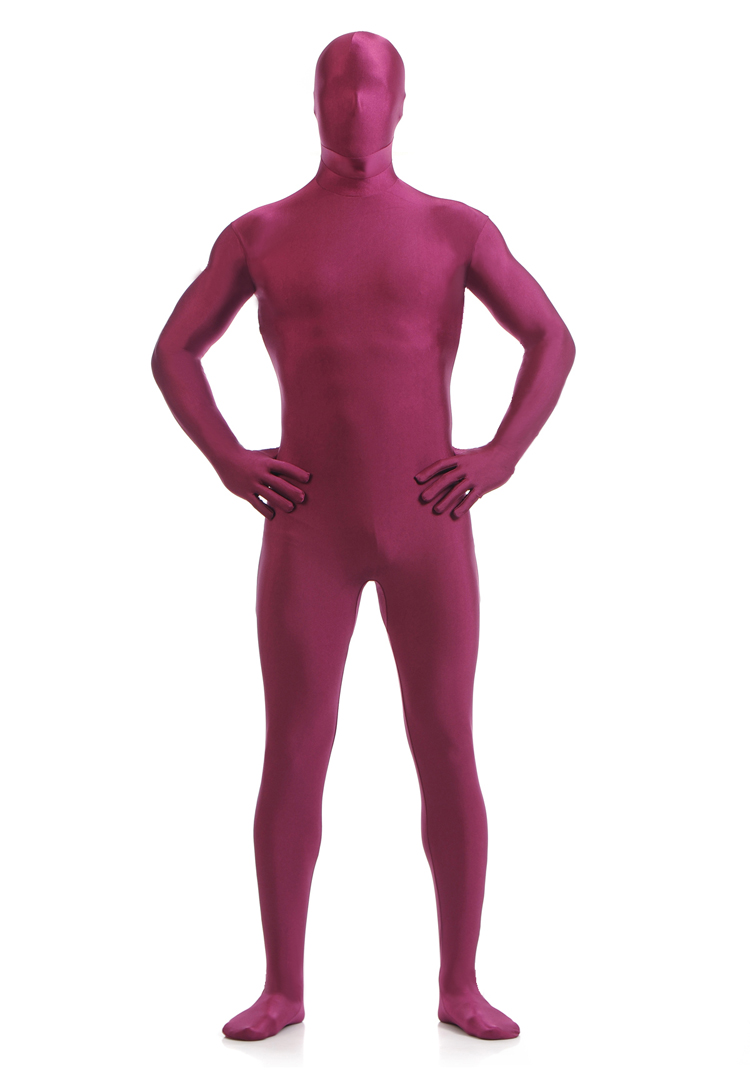 SCM006 Second Skin Tight Suits Lycra Zentai Suit Wine Red Spandex Unitard Mens Cosplay Full Body Bodysuits