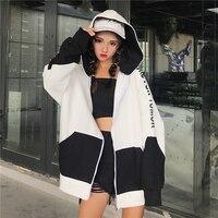 Batwing Harajuku Hoodie Women Casual Zipper Streetwear Hip Hop Korean Style Sweatshirt Tracksuit Loose Hoodies Women Coat 50F021
