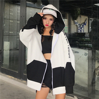 Batwing Harajuku Hoodie Women Casual Zipper Streetwear Hip Hop Korean Style Sweatshirt Tracksuit Loose Hoodies Women Coat 50F021