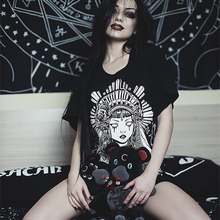 Gothic Black Tshirts Women Witch Print Long Tee Shirts Summe