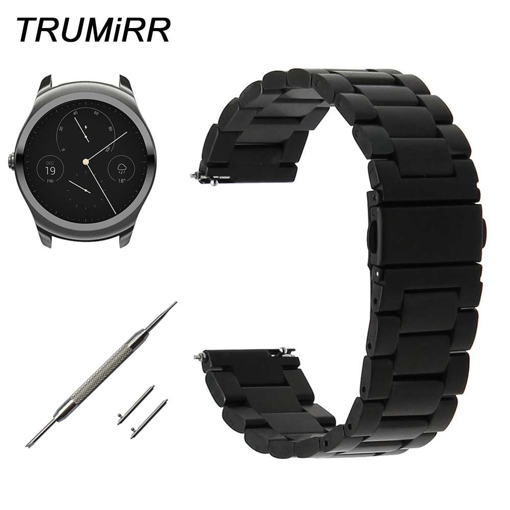 20mm 22mm Quick Release Watchband for Ticwatch 1 46mm / 2 42mm / Ticwatch E Watch Band Stainless Steel Strap Wrist Belt Bracelet ceramic stainless steel watchband universal quick release watch band butterfly clasp wrist strap 12mm 14mm 16mm 18mm 20mm 22mm