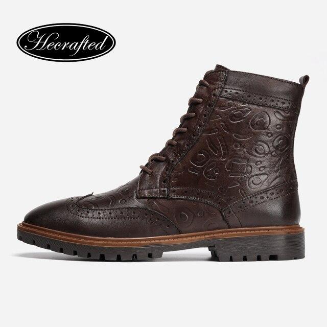 الجلود والحبوب الكاملة الرجال الشتاء أحذية حجم 38 ~ 47 اليدوية الدافئة الرجال الشتاء الأحذية # 3HC598JM