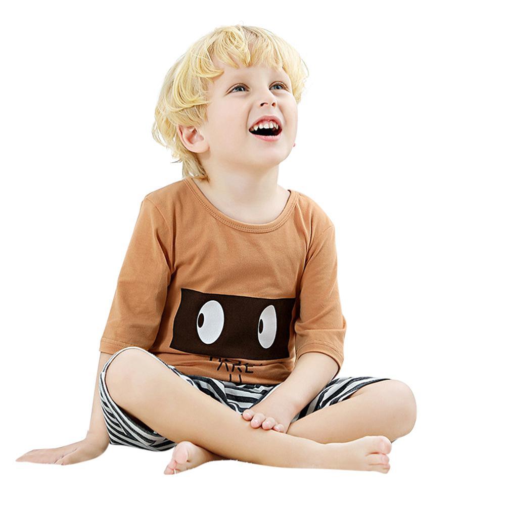 Kids Home Pajamas Set Half Sleeve Tops Pants Cute Pattern Children Sleepwear in Pajama Sets from Mother Kids