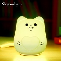 USB Night Light Colorful 7 Colors Cat LED Children Animal Night Light Silicone Soft Cartoon Baby Nursery Breathing Lamp