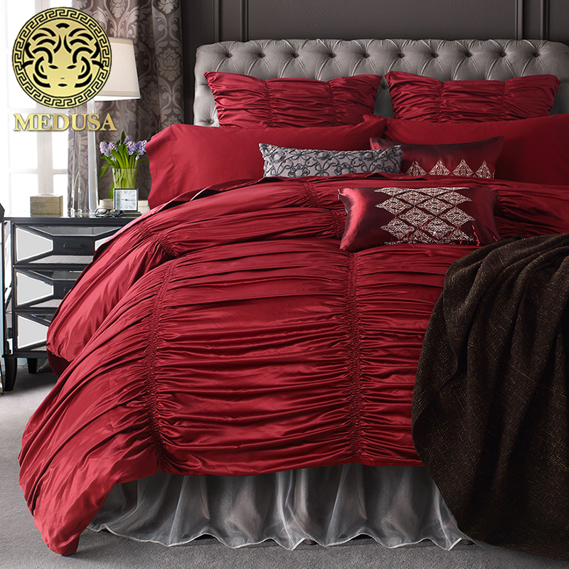 Medusa 4 6 Piece Shabby Chic Ruched Ruffle Duvet Cover Set