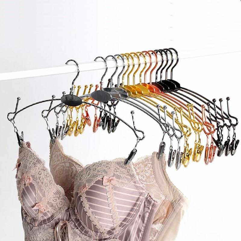 10pcs / παρτίδα 28cm κρεμάστρες από ανοξείδωτο χάλυβα για ρούχα ράφια μεταλλικά εσώρουχα κρεμάστρα ράφι εσώρουχα κλιπ κρεμάστρα κλιπ (20pcs δωρεάν LOGO)