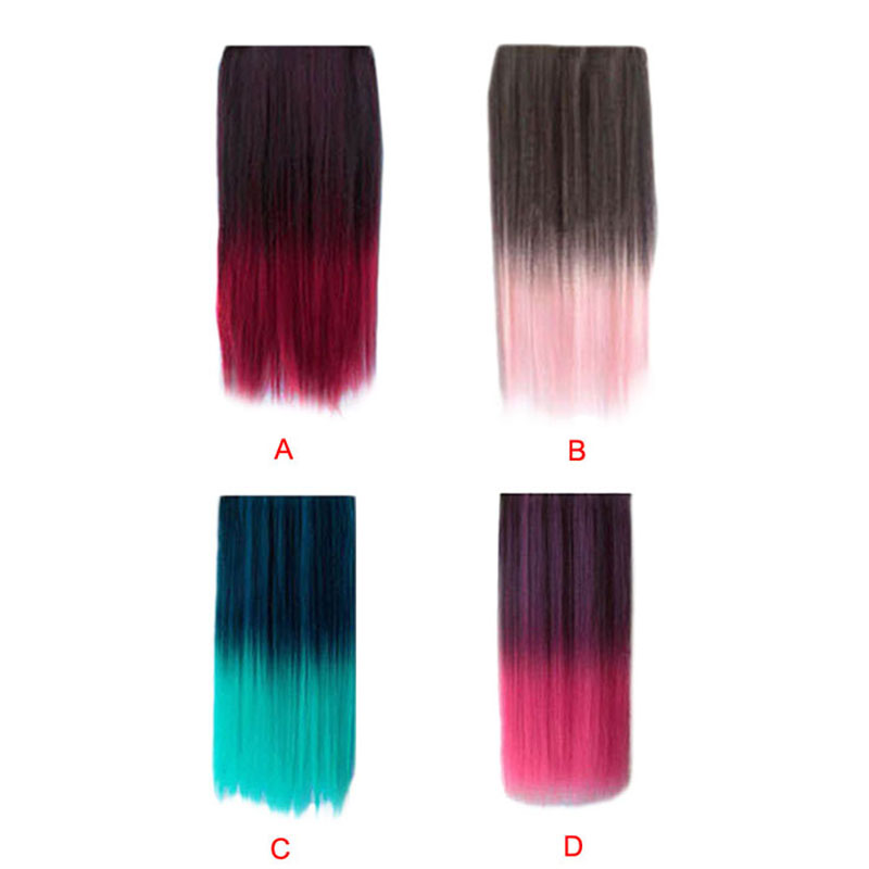 Ombre Dip-dye Color Clip In Hair Extension Length Black To Green Straight Levert Dropship Y629