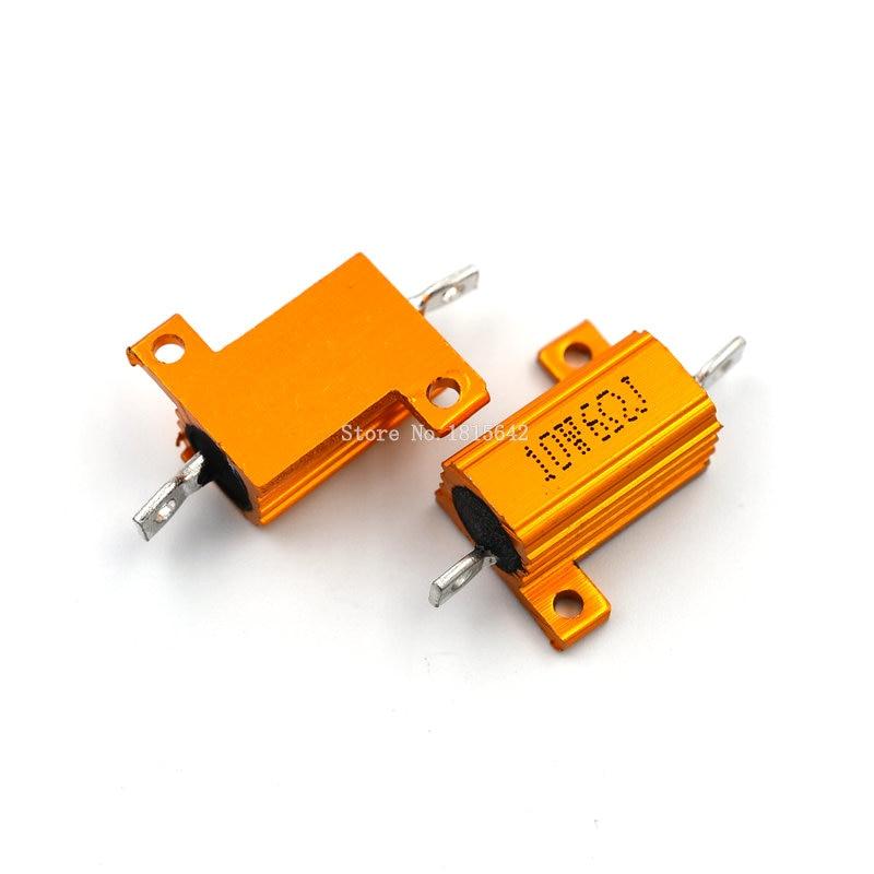 2PCS RX24 10W 6R 6RJ Wire Wound Resistor Metal Shell Aluminium Golden Resistor 10Watt 6 Ohm Heatsink Resistance