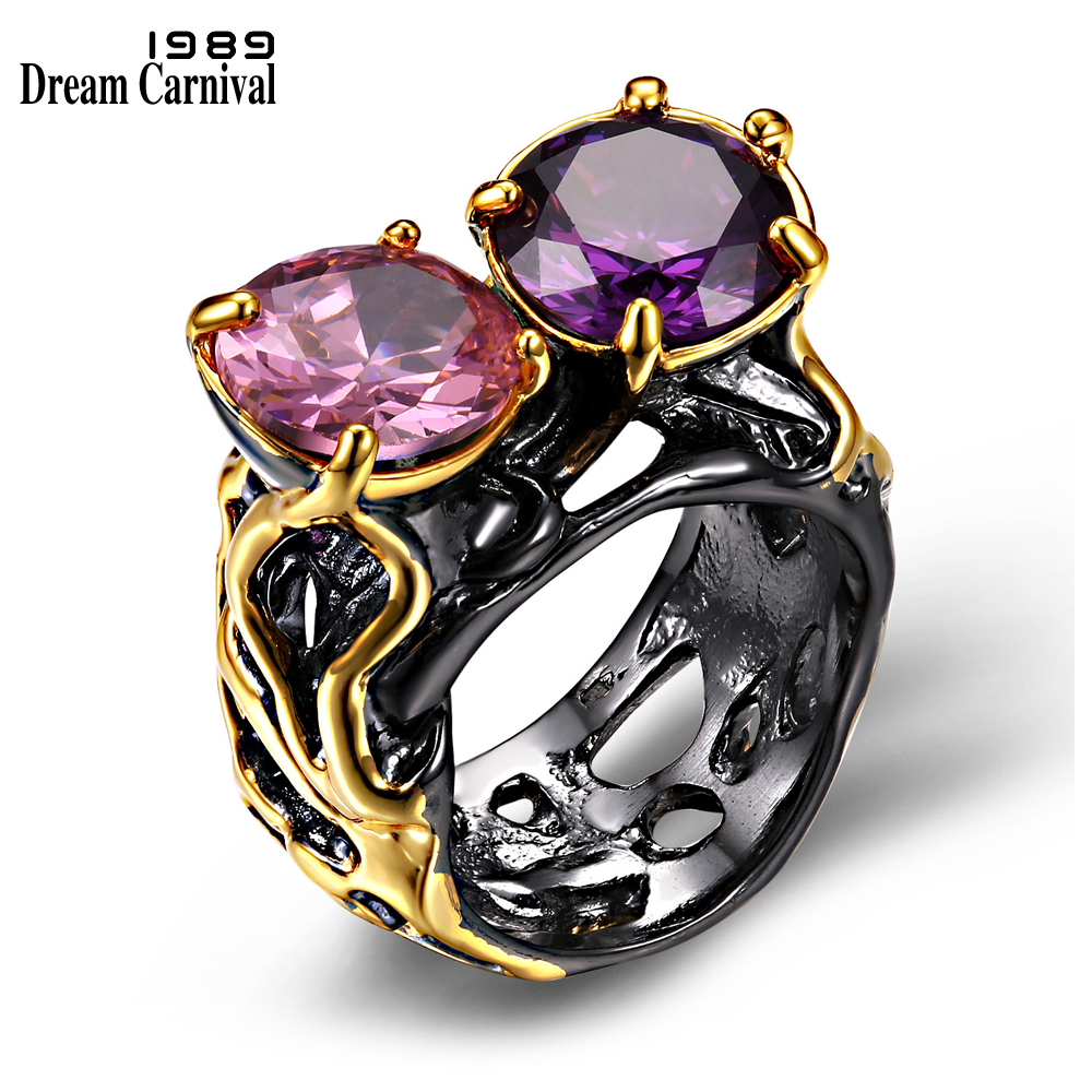 DreamCarnival 1989 Super Big European Design CZ Solitaire Jewelry Vintage Anillos Mujer Anel Black Gold Color Women Rings R09