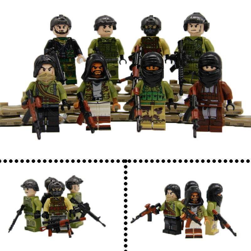 8PCS World War 2 Military Sets Model WW2 Army Soldier Terrorist Building Blocks Bricks LegoINGlys SWAT Police Figures Toys 12pcs legoinglys ww2 military figure biochemical world war air weapons guns us army soldier swat team vs zombies building blocks