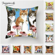 Fuwatacchi Cute Cats Dog Cushion Covers Animals Painting Pillow Covers For Home Sofa Chair Decor New 2019 Flowers Pillowcases цены