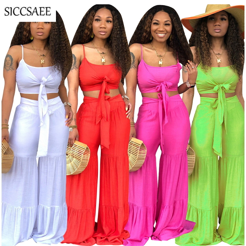 Summer 2019 Solid Color Strapless Bow Crop Top Backless Wide Leg Palazzo Pants Loose Oversized Two Piece Set Matching Sweat Suit