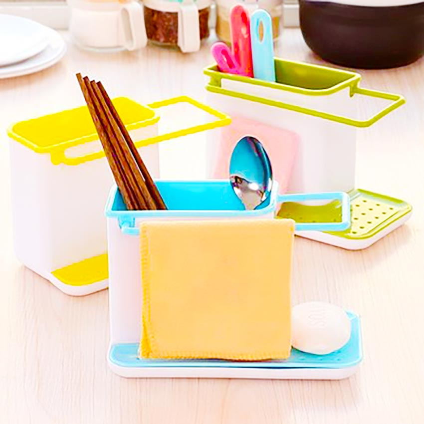 2017 Nuevos Estantes De Plástico Accesorios de Almacenamiento de Cocina Multifuncional Organizador Acabado Estante baño esponja Accesorios Limpios