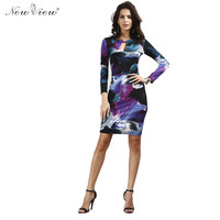 Purple Sexy Print V Neck Long Sleeve Women Party Mini Slim Casual Summer Bodycon Dress Europe