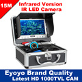 "Eyoyo Original 15M Infrared Fish Finder 1000TVL Underwater Ice Fishing Camera 7"" AntiSunshine Shielf Sunvisor 12pcs  IR LED"