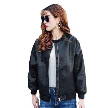 2018 Spring Autumn Women Faux Leather Jacket Long Sleeve Pink Coat Baseball Outerwear Girls Black Basic PU Leather Jackets A189 leather jacket