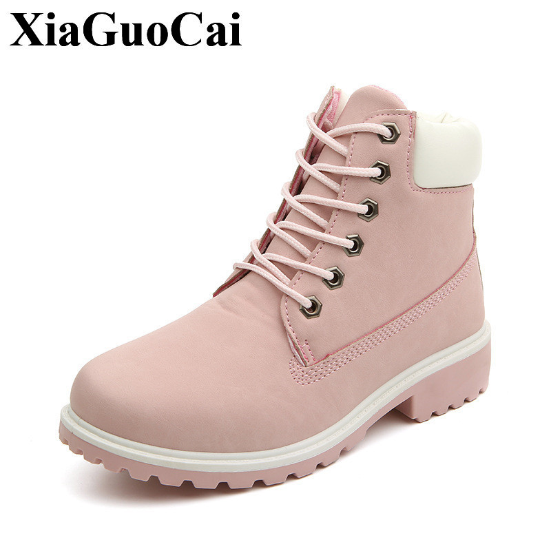New Tooling Boots Women Shoes Fur Warm Ankle Boots Fashion Solid Round Toe Lace-up Flat Shoes Autumn&winter Casual Shoes H405 35 front lace up casual ankle boots autumn vintage brown new booties flat genuine leather suede shoes round toe fall female fashion