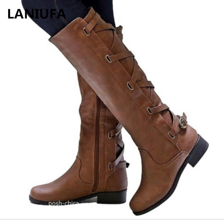 Autumn Winter Women Knee High Boots Women Motorcycle Boots Mid Heels Dress Thigh High Boots Women Shoes Mujer Plus Size 35-43(China)
