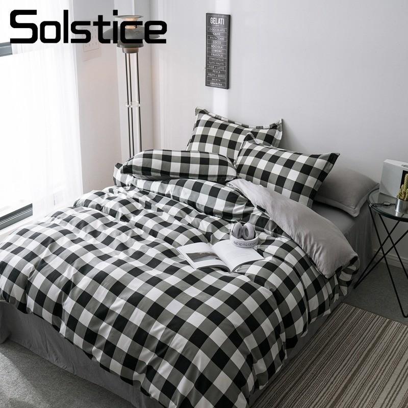 Solstice Home Textile Black/White Plaid Lattice Duvet Cover Pillowcase Flat Sheet Brief Bedding Set Kid Adult Boy Girl Bed Linen